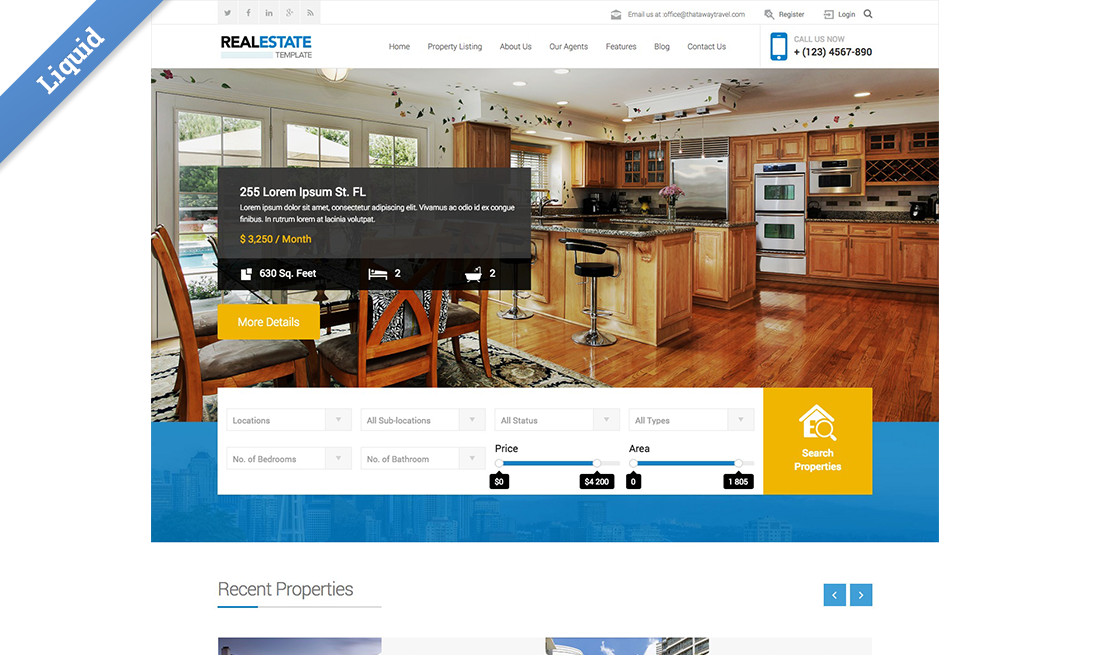 New liquid business catalyst template real estate agency view the real estate agency template details page wajeb Image collections