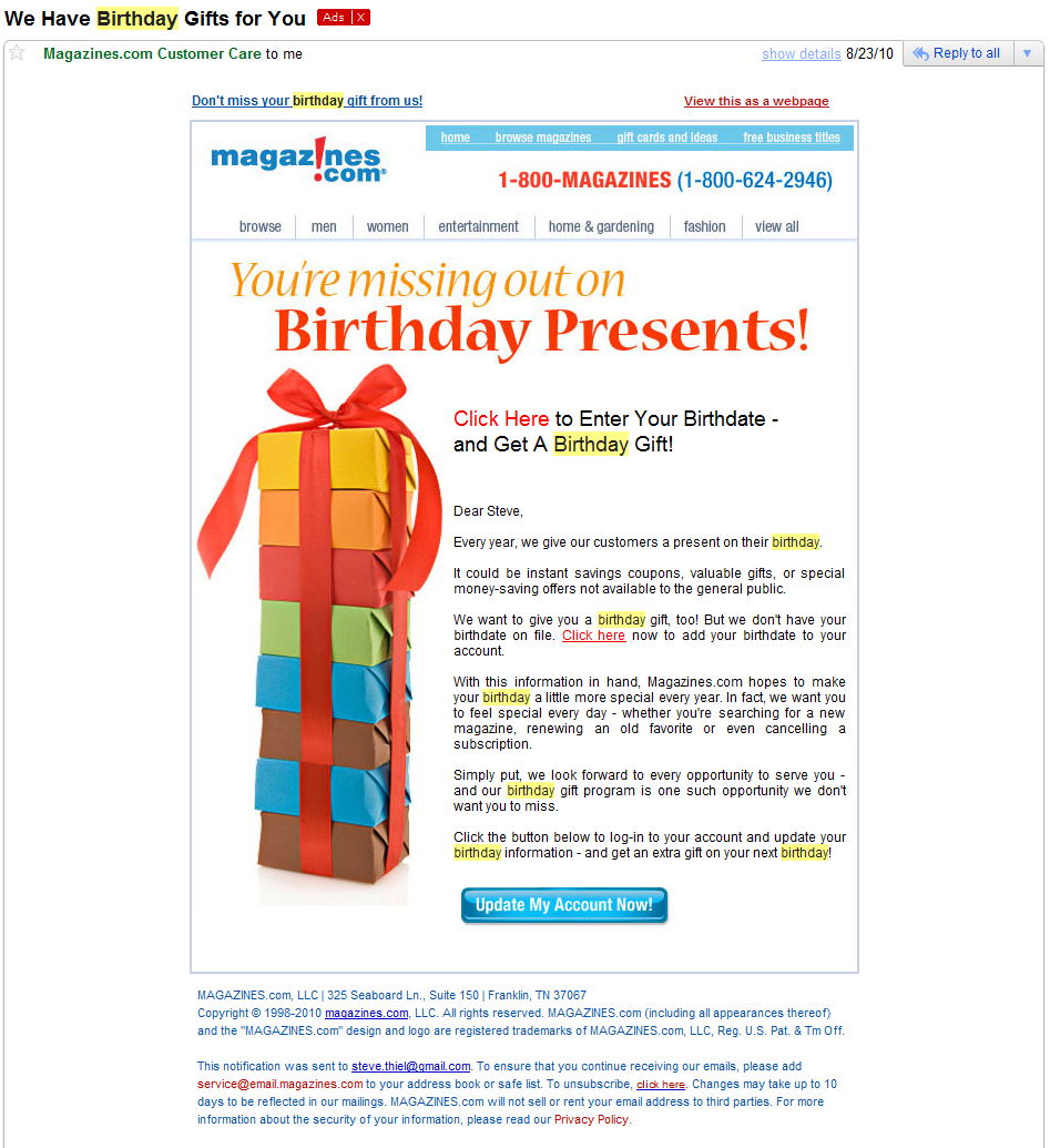 Get Birthday Information Email