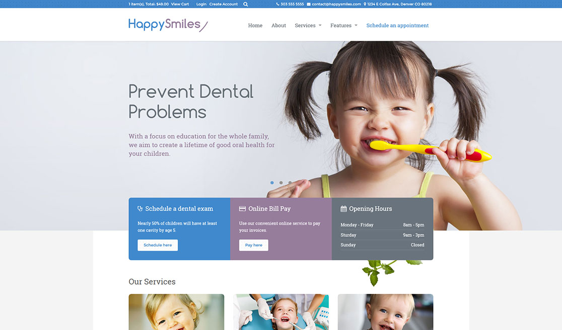 kids dentist business catalyst template